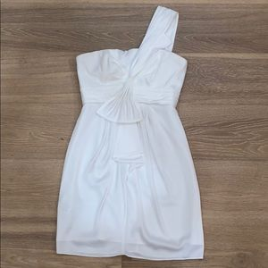 White One-Shoulder Pleated Dress